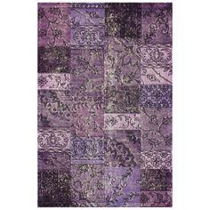 nuLOOM Handmade Wool Transitional Patchwork Overdyed Purple Rug (7' 6 x 9' 6) | Overstock.com