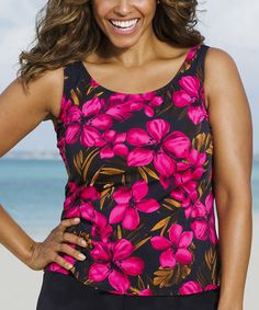 Look at this Beach Belle Red Oasis Tankini Top - Women on #zulily today!