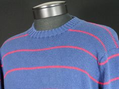 Brooks Brothers Vintage Sweater Size 46 XL 100% Cotton Blue Red Stripes USA