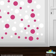 Hot Pink / White Polka Dot Circles Wall Decals #decals #stickers #decalvenue