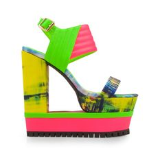 - Material: Leatherette and Fabric - Heel Height: 6 inch - Platform Height: 1.5 inch - Fit: True to size