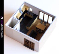 Kitchen & Living Room Interior - 3D Printing, 3D Printed Interior for Kitchen & Living Area