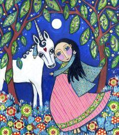 """Unicorn art print kids wall art girls gift nursery baby art whimsical folk art picture childrens room decor - """"Honesty"""". $20.00, via Etsy."""