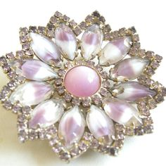 Vintage gold tone flower brooch with pink and orchid glass by tonightinparis, $38.00