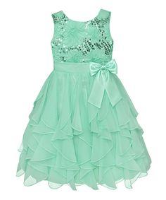 Green Sequin Ruffle Dress
