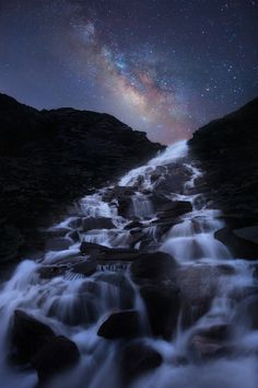 bluepueblo:    Milky Way Waterfall,  Graian Alps, Italy  photo via astratos
