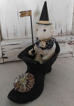 Vintage Inspired Happy Haunting Teddy in Witch Shoe Home Decoration #BethanyLowe
