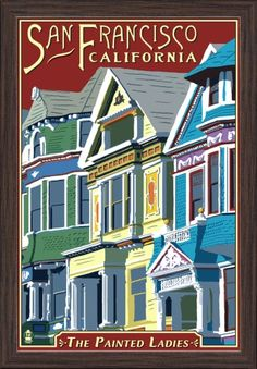 San Francisco, California - Painted Ladies - Lantern Press Artwork (16x24 Giclee Art Print, Gallery Framed, Espresso Wood), Multi