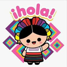 Hola Mexican Art, Mexican Style, All Things Cute, Line Sticker, Sewing Crafts, Doodles, Clip Art, Baby Shower, Lettering