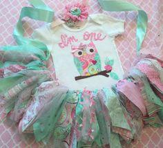 Owl 1st Birthday outfit Girls Pink mint aqua owl by RockabyeJoss