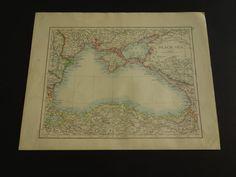 BLACK SEA map 1895 original old map of the Black by VintageOldMaps