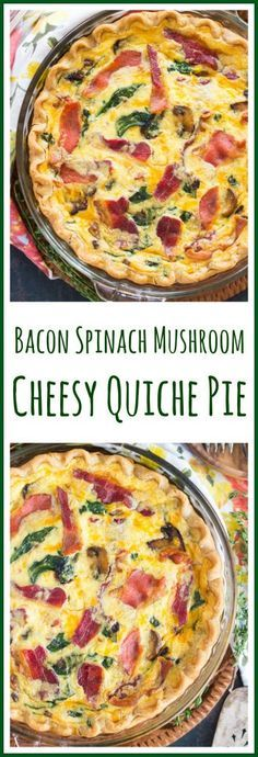 This Bacon Spinach Mushroom Quiche Pie recipe is loaded with veggies cheese and bacon a totally complete filling breakfast dish Breakfast Quiche, Sausage Breakfast, Breakfast Dishes, Best Breakfast, Breakfast Casserole, Breakfast Recipes, Breakfast Ideas, Morning Breakfast, Egg Casserole