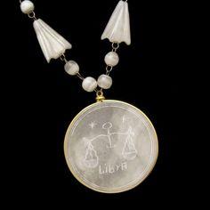 Vintage Pendant Necklace Mid Century Mexican Onyx Libra Zodiac Large White Travertine #MyClassicJewelry