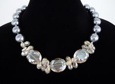 Crystal and Pearl Statement Necklace in Neutrals by by DebbieRenee, $59.00, jewelry