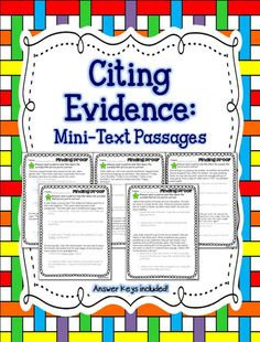 Finding Proof & Citing Evidence- for first and second grade. Get ready for STAAR!