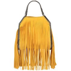 Stella Mccartney Women Mini 3chain Falabella Fringed Bag ($1,220) ❤ liked on Polyvore featuring bags, handbags, shoulder bags, sun yellow, chain strap handbag, yellow purses, mini handbags, chain handle handbags and chain shoulder bag