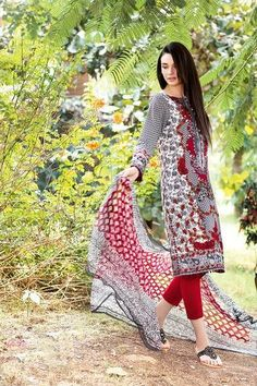 Shirt:  Fabric: Printed Lawn Shirt & Printed Sleeves & Embroidered Neckline  Shalwar/Trouser:  Fabric: Dyed Salwar  Dupatta:  Fabric: Printed Chiffon Dupatta.