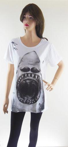 Shark Mustache TShirt -- great shirt, creepy mannequin
