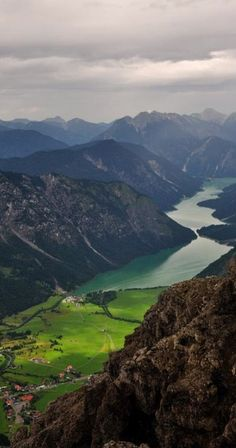 Bird's-eye view of Heiterwanger See and Plansee in the Austrian Alps • photo: Maik Riegler on Flickr