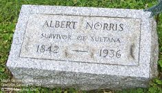 Albert Norris' grave - survivor of the Sultana