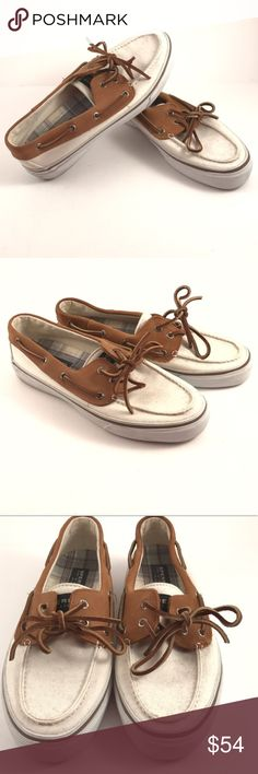 Sperry Top Sider Canvas and Leather Boat Shoe Men's Sperry Top Sider in great condition! Pre-owned please see photos for actual condition. Men's size 10 Sperry Top-Sider Shoes Boat Shoes