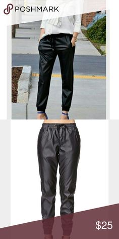 """Bullhead faux leather joggers These are awesome joggers, they just don't fit me well. Drawstring waist, banded bottoms  with zippers on the inside of the leg , front slant pockets and two back pockets. They have a fleece like lining so they're very comfortable and warm . They are a hundred percent  polyester with the outside having a polyurethane coating. 9 3/4"""" front rise, 11 3/4"""" back rise, 15.5"""" waist, 27"""" inseam. I've only wore them 2-3 times and they are in great shape! Bullhead Pants…"""