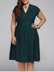 Plus Size Cape Sleeve Pleated Deep V Neck Flare Dress - DEEP GREEN 2XL