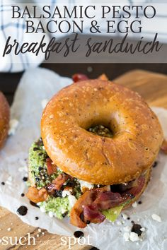 This Balsamic Pesto Bacon Egg Breakfast Sandwich looks impressive, but it comes together in a matter of minutes, making it an easy choice for a delicious breakfast any day of the week.