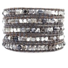 Grey Banded Agate Crystal Mix Wrap Bracelet on Natural Grey Leather - Chan Luu