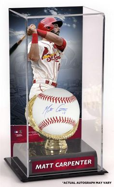 ee4592aa616 Matt Carpenter St. Louis Cardinals Autographed Baseball and Gold Glove  Display Case with Image