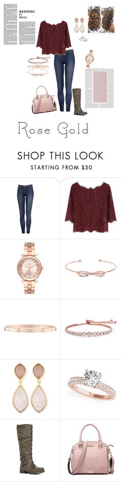 """""""my look"""" by jbillington ❤ liked on Polyvore featuring Joie, Michael Kors, Ted Baker, Harry Winston, CARAT* London, Dina Mackney, JustFab, pretty, rosegold and rosegoldjewelry"""