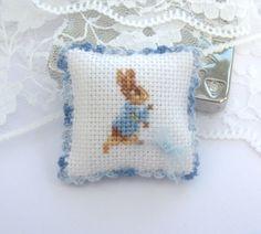 beatrix potter peter rabbit  pillow cushion petite point  12th scale miniature hand stitched crochet