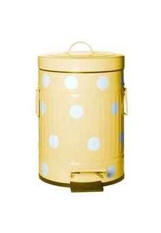 Lixeira Decorativa Amarela Bolinhas Brancas Metal 5L Urban