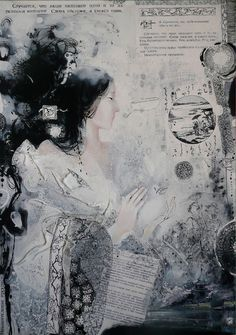"Saatchi Online Artist: Yulia Luchkina; Mixed Media, 2009, Painting ""The Pillow Book. """