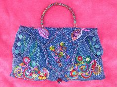 Love this recycled jean bag sew, denim craft, purs, jeans handbag, front, jeans bag, embroid jean, bags, recycl denim