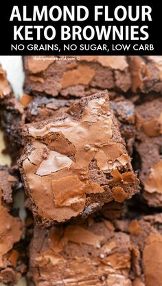 Sugar Free Desserts, Low Carb Desserts, Low Carb Recipes, Dessert Recipes, Cooking Recipes, Gluten Free Sweets, Almond Flour Brownies, Keto Brownies, Gluten Free Brownies