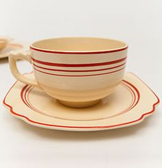 Extremely Rare Tripe Graduating Red Stripe Luncheon Plate Vellum Glaze  30s Americana Art Deco