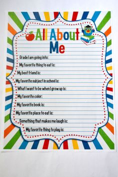 Back to School Printables help make going back to school more fun!  Check out these adorable printable All About Me fill in sheet from #AmandaCreation!