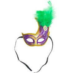 Gold & Purple Flame Topped Half Mask: Green Feathers