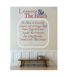 """Nautical Beach Decal - Boat Anchor Beach Cottage Decor-Beach Theme Vinyl Wall Decal 22'H x 18""""W"""