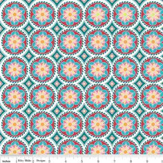 The Quilted Fish - Madhuri - Blue Medallion - quilting fabric by Riley Blake Designs Blue Fabric, Cotton Fabric, Fabric Design, Pattern Design, Teal And Grey, Design Girl, Riley Blake, Modern Retro, Modern Fabric