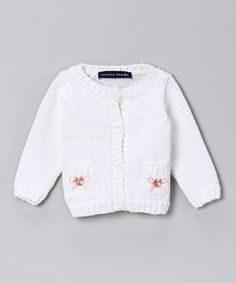 White Embroidered Knit Cardigan #zulily #fall