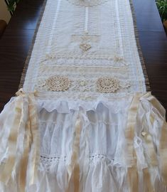 Burlap and Lace Table Runner by LaPetitePrairie Vintage Shabby Chic Wedding Tablecloth