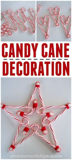 Learn how to make a candy cane star for the top of your tree or to decorate your home this Christmas. Its simple, inexpensive, and easy to make! Candy Cane Poem, Candy Cane Story, Candy Cane Crafts, Candy Cane Ornament, Candy Cane Wreath, Star Tree Topper, Diy Tree Topper, Christmas Tree Star Topper, Christmas Candy Cane Decorations