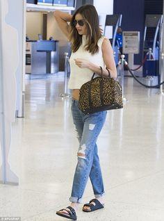 Miranda Kerr makes Birkenstocks and baggy jeans look high fashion http://dailym.ai/1r9jnme