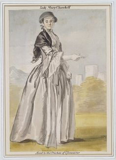 """""""Lady Mary Churchill"""" by Paul Sandby (date unknown) in the Royal Collection Trust"""