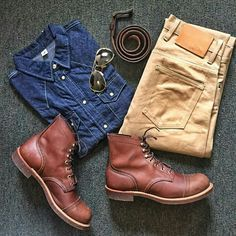 Outfit grid - Denim shirt boots