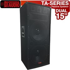 """Awesome speaker for Karaoke or the Mobile Disk Jockey. The TA-300 has two 15"""" woofers with high tempered voice coils, a horn and 3 bullet tweeters. Power rating 1500 watts. This speaker has a professional carpet finish, steel corners and heavy duty handles. Inputs are dual 1/4"""" and binding post."""