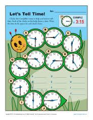 Telling the Time O'clock, Half and Quarter Sheet 2B