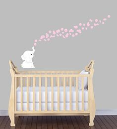Baby Pink Wall Decals, Elephant Mural For Nursery, White Elephant, Wall Art for Baby Nursery Decals and More http://www.amazon.com/dp/B015JRWL9G/ref=cm_sw_r_pi_dp_LCKVwb13BKH11